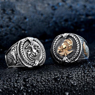 [GIN FOR FREE SHIPPING] Eagle Anchor US Marines Men Punk Stainless Steel Biker Ring