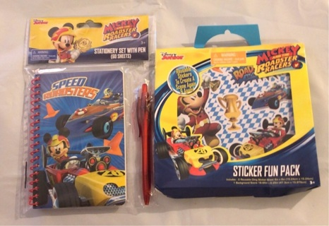 BNIP Mickey Mouse Roadster Set! Stationery Pad W/Pen & Sticker Fun Pack!!