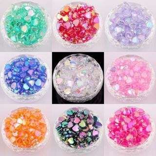 200 PCs Heart Acryl AB Color Spacer Beads For Jewelry Making Findings 8x4mm