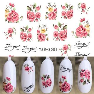 1 pcs Nail Sticker Water Decals Women White Flower Cat Butterfly Transfer Nail Art Decoration 2018