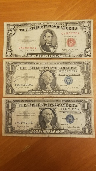3 Note Lot - Red Seal, Blue Seal, Silver Certificate - Old Vintage Dollars - Antique Money