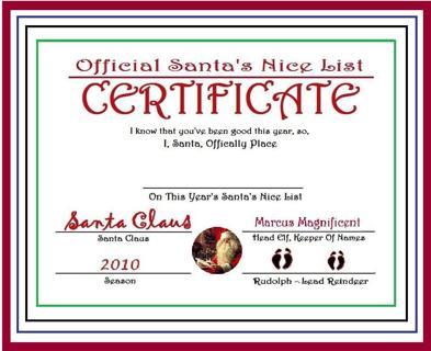 FREE Official Santas Nice List Certificate