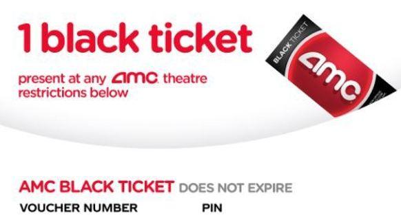 2 AMC Black Movie Tickets - NEVER EXPIRE