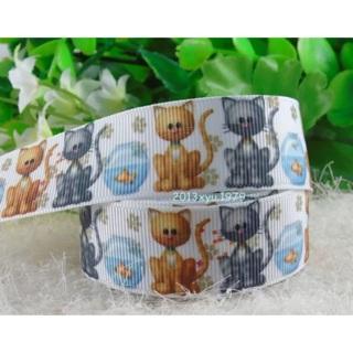 "Cute Kittens and Fishbowl 7/8"" Grosgrain Ribbon 1 Yard NEW"