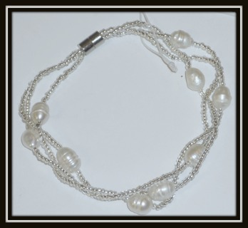 Lovely 3-Stranded Bracelet w/ Genuine Baroque Pearls, Czech Crystal Beads, Magnetic Clasp Closure!