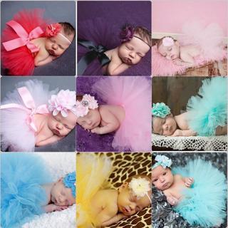 Infant Baby Girls Newborn Flower Headband + Tutu Skirt Costume Set Photo Prop