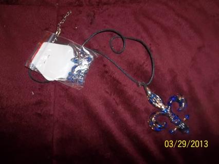 BLUE Glass Lamp work FLEUR DE LIS Necklace & Earrings set