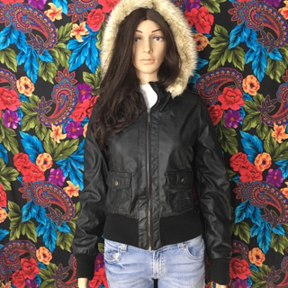 Women's Faux Leather Jacket fur hoodie MEDIUM Ashley By 26 International