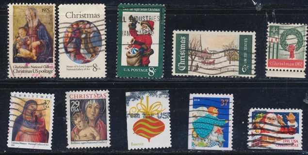 United States:  (10) Christmas Stamps, All Different, Used, In Excellent Condition - CHS-1045a