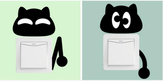 Set of 2 Black Cat Light Switch/Wall Art Vinyl Stickers