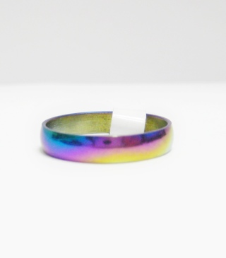 ❤️♡❤️ NEW! 4mm STAINLESS STEEL RAINBOW WEDDING BAND/ RING - Many Sizes Available From 5-11 ❤️♡❤️