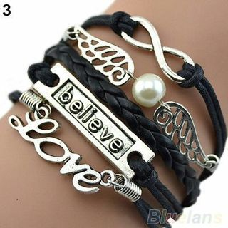 Handmade Multilayer Love Bracelet Angel Wings Deathly Hallows Chain Bangle B52U