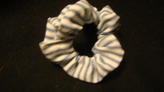 blue and white handmade scrunchie