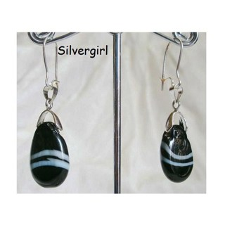 Striped Black and White Lampwork Drop Earrings
