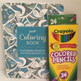 FREE Posh Adult Coloring Book Soothing Designs Fun Relaxing 24 Colored Pencils Free Shipping