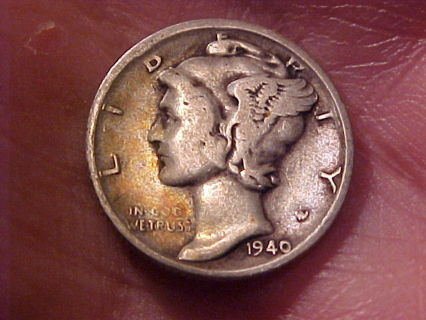 1940-S Mercury Winged Liberty Silver Dime Silver Coin Mint San Francisco Ca. Full Date!