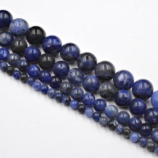 ✿Free Shipping✿ 6mm Natural Stone Blue-vein Sodalite Loose x60beads
