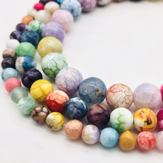 [GIN FOR FREE SHIPPING] 15in Natural Stone Mixed Colorful Fire Dragon Agates Round Loose Beads