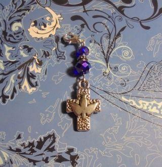 New~Cross Blue Crystal Clip-On Zipper Pull