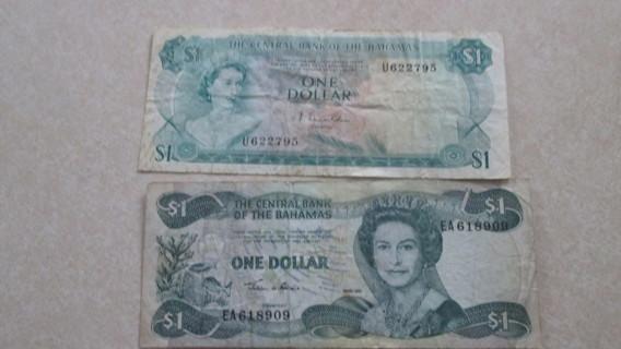 THE CENTRAL BANK OF THE BAHAMAS 2 - $1 DOLLAR BILLS