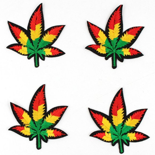 4-PACK COLORFUL CANNABIS LEAF IRON ON PATCHES WEED