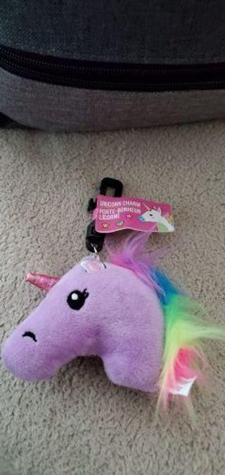 New! Light purple plush unicorn keychain