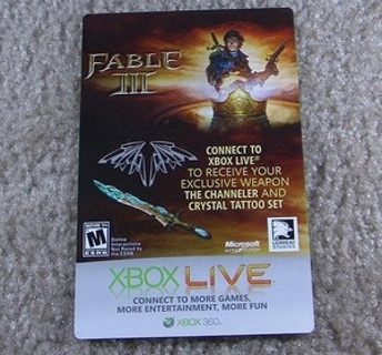 Free: Fable 3 Channeler Sword and tatoo DLC (Xbox 360) - Video Game