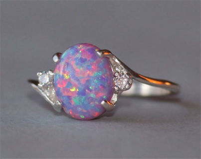 Vintage 2.3Ct Fire Opal Women 925 Silver Ring Gemstone Engagement Wedding Party