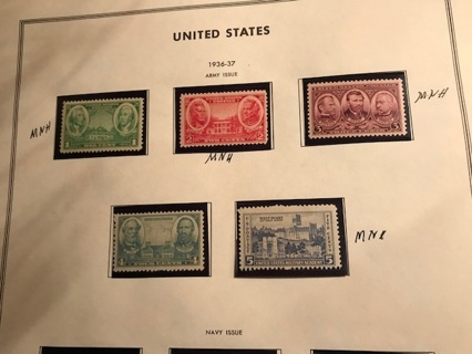 US, MNH #785-89 Army Series 1936-37 5 stamps