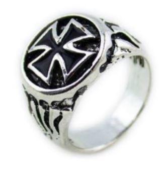 NEW RING Men's Fashion Ring Steel Titanium Cross Ring Mens Gift Biker Shield Jewelry FREE SHIPPING