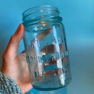 1920s antique Atlas strong shoulder aqua glass pint canning jar
