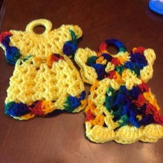 Two Hand Crochet Dress Potholders .