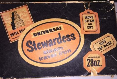 antique universal stewardess steam travel iron 10a