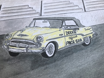 1954 Dodge Official Indianapolis 500 Pace Car Watercolor Print 8 X 10 1/2