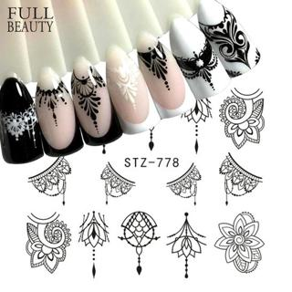 Full Beauty 1 Sheet Jewelry Nail Sticker Black Floral Decals Manicure Water Transfer Slider Foil D