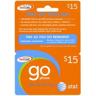 15 att go phone pay as you go prepaid cellphone refill card - Prepaid Cell Phone Cards