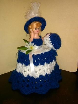 Crochet Doll (B-1195) Covers Bathroom Tissue -- Royal Blue / White