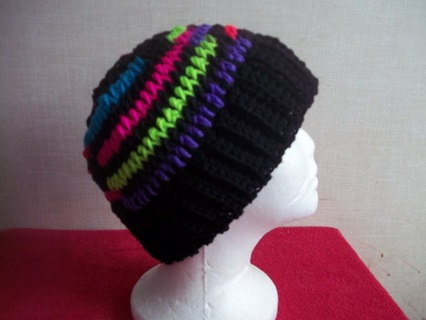 Crocheted Black and Ombre Striped Messy Bun Hat