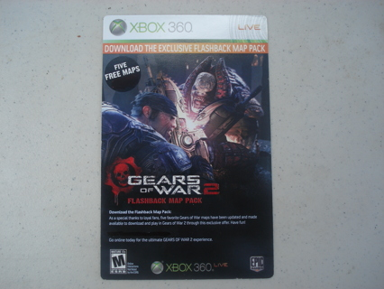 """GEARS OF WAR 2 """"FLASHBACK"""" MAP PACK DOWNLOAD - FIVE FREE MAPS! XBOX 360 (DLC) MUST OWN GAME!!"""