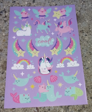 DIFFERENT STYLES OF UNICORN AND RAINBOW AND DIAMONDS STICKERS 3 SHEETS