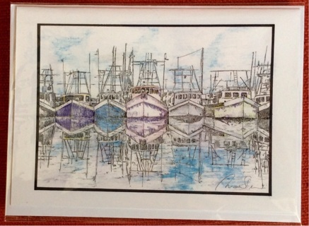 "SHRIMPBOAT ARMADA - 5 x 7"" art card by artist Nina Struthers - GIN ONLY"