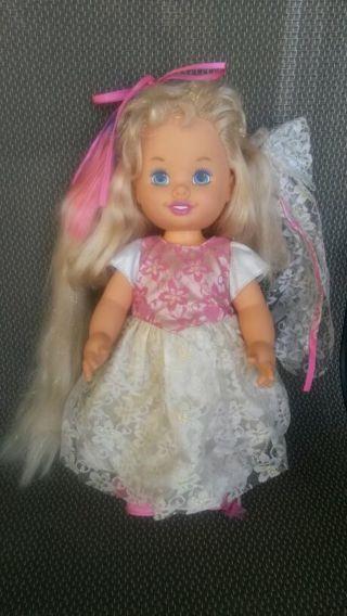 Vintage 1995 Hasbro Bride Surprise Doll Pink Purple Growing Hair Works Great !