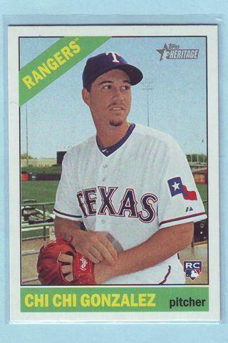 2015 Topps Heritage Chi Chi Gonzalez Baseball Card # 507 Rangers