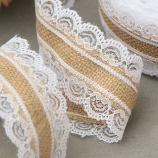 10m Natural Jute Burlap Hessian Lace Ribbon Roll + White Lace