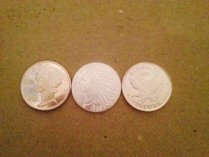 Assortment of 3 ea .999 Fine Silver Rounds