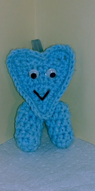Crochet Valentine's Day Heart Shaped Finger Walker (B-7513) Pastel Blue