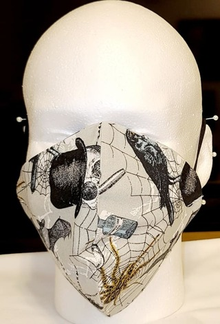 FACE MASK W/ADJUSTABLE BAND IN HALLOWEEN PRINT OLDER TEEN/ADULT***LQQK***