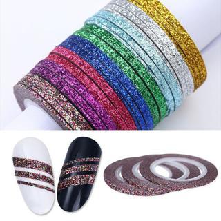 8 Color 1/2/3mm Nail Art Tape Line Strip Adhesive Stickers Design DIY Decoration