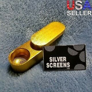 NEW Small Gold Foldable Smoking Pipe Tobacco Herb Portable Metal Pocket Size