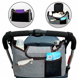 NEW BlueSnail Stroller Bag Organizer Space for iPhones, Wallets, Diapers, Books, Toys, iPads (Grey)